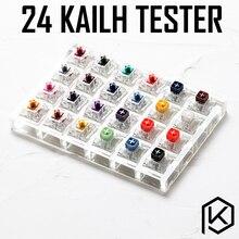 Interruptor de 24 interruptores do testador, com base acrílica teclas em branco para teclado mecânico kailh caixa pesado pro roxo laranja amarelo dourado