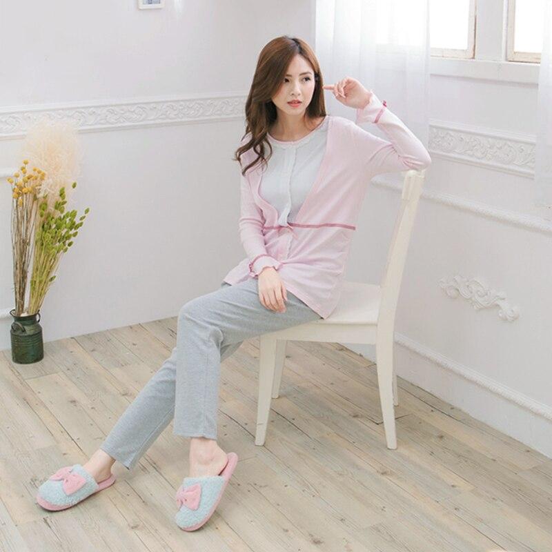 Maternity Nursing Pajamas set Soft Cotton Comfortable Breastfeeding Sleepwear Maternity Pajama Nightgown