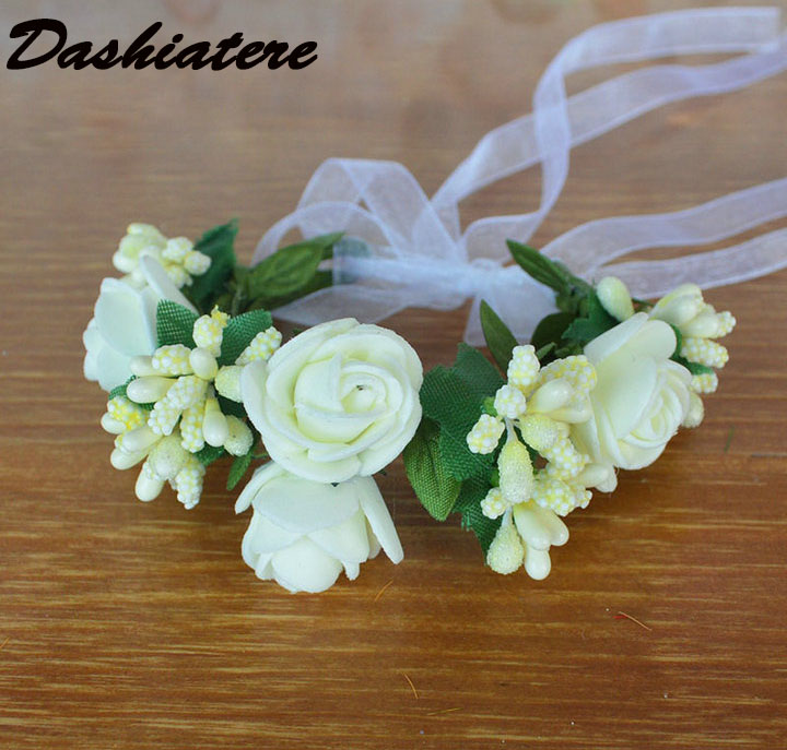 Smart Fake Flower Wrist Corsage Bracelet Wrist Flowers For Bridesmaids Red Wedding Decoration Marriage Rose Wrist Corsage Hand Flowers Medical & Mobility