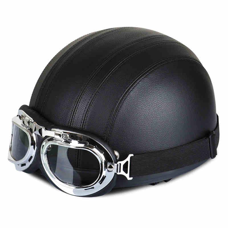 Moto rcycle Leder Helm moto rbike Reiten vintage Cruiser Touring Halb Helme moto fahrrad Roller biker Helm