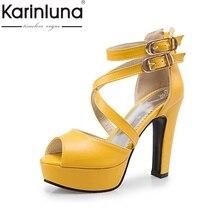 KARINLUNA Verano Zapatos de Tacón Alto de La Correa de La Vendimia Mujer Square Tacón Peep Toe Plataforma Mujeres Sandalias Tamaño Grande 34-48