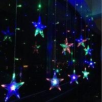 Navidad vacaciones UE 220 V 8 modo luminoso Hada estrella LED cortina cadena luces de fiesta año nuevo Garland decoración