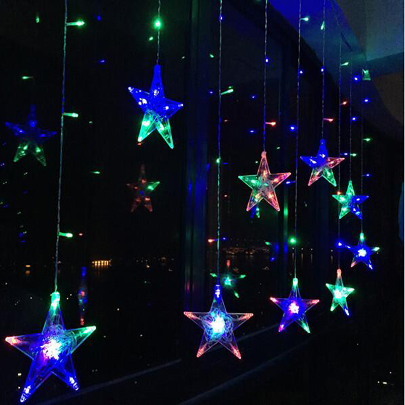 3M Christmas Holiday Lights EU 220V 8 Modes Fairy Star Led Curtain String Lights For Party