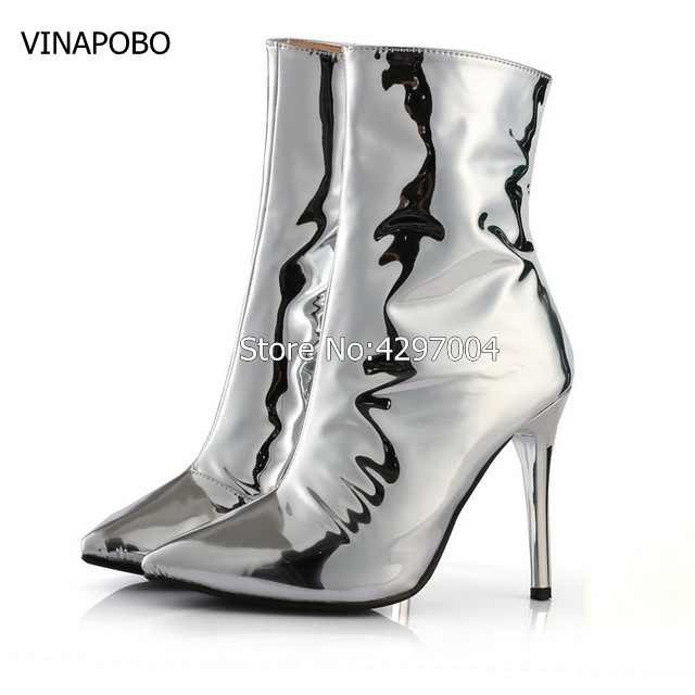b81137b70 ... Горячая Мода женщина зеркало цвета: золотистый, серебристый сапоги  металлик кожаные ботильоны острый носок и ...