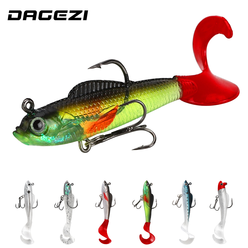 DAGEZI Jig Head Lead Soft Bait 1pcs Silicone Artificial Bait 9CM/9G Fishing Lure Sea Bass Carp Fishing Tackle Pesca