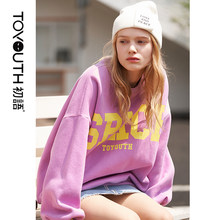 Toyouth Winter Pullover Sweatshirts Womens Harajuku Oversized Sweatshirt Loose O Neck Long Sleeve Letter Top Streetwear Top(China)