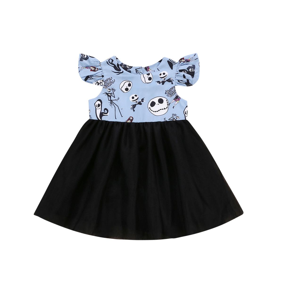 6663c8f4ce6 Toddler Kid Girls Princess Halloween Children Tulle Party Pageant Dress  Cartoon Ghost Pattern Sundress