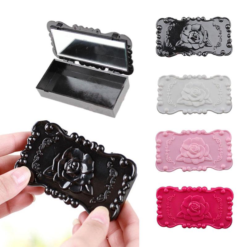 Hot New Fashion Portable Cosmetic Makeup Mirror Eyelashes Jewelry Rings Necklace Display Storage Case Handy Box Espelho Wyt77