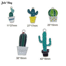 Julie Wang 5pcs 10pcs Alloy Enamel Potted Cactus Charms Random Necklace Pendant DIY Jewelry Women Bracelet Making Accessory