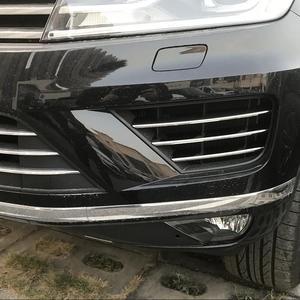 Image 4 - 6 sztuk Car Styling przedni zderzak samochodowy dolna kratka pokrywa wyścigi grille ze stali nierdzewnej naklejka na vw Volkswagen 2016 2018 Touareg