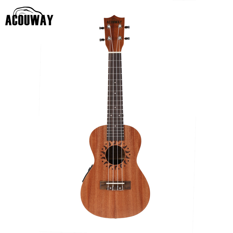 Acouway 21 Inch Soprano 23 inch Concert Electric Ukulele Uke 4 String Hawaii guitar Musical Instrument with Built-in EQ Pickup kmise concert ukulele mahogany ukelele 23 inch 18 frets uke 4 string hawaii guitar with gig bag