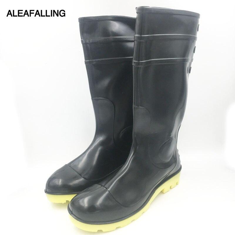 Aleafalling Männer Schwarz Bergbau Stiefel Nicht-rutsch Verschleiß-beständig Starke Sehne Am Ende Von Regen Stiefel Pvc Stiefel Schuhe M046 Mangelware