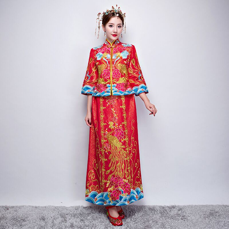 Ancient marriage costume the bride clothing gown traditional Chinese wedding dress womens cheongsam embroidery phoenix red Qipao 03 red gold bride wedding hair tiaras ancient chinese empress hat bride hair piece