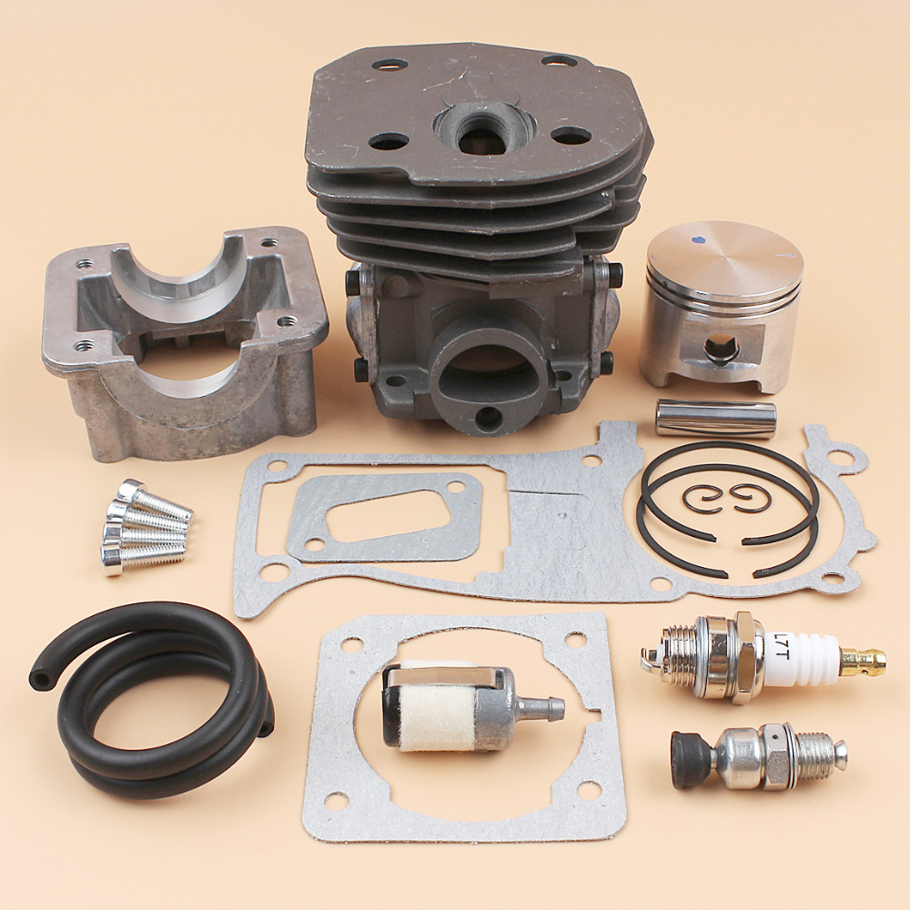 45MM Cylinder Piston Engine Pan Gasket Kit For HUSQVARNA 350 340 346XP 345 353 Chainsaw w/ Decompression Valve Fuel Hose Filter nikasil cylinder piston kit 45mm big bore fits husqvarna 353 351 350 346xp epa 345 340 chainsaw decompression valve fuel filter