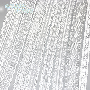 (5 yards/roll) white lace fabric Webbing Decoration packing Material roll wholesale(China)
