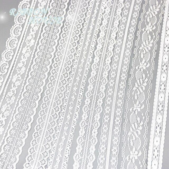 (5 yards/roll) tessuto di pizzo bianco Nastri e Fettucce Decorazione Materiale d