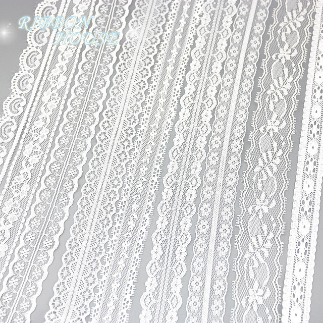 (5 yards/roll) white lace fabric Webbing Decoration packing Material roll wholesale