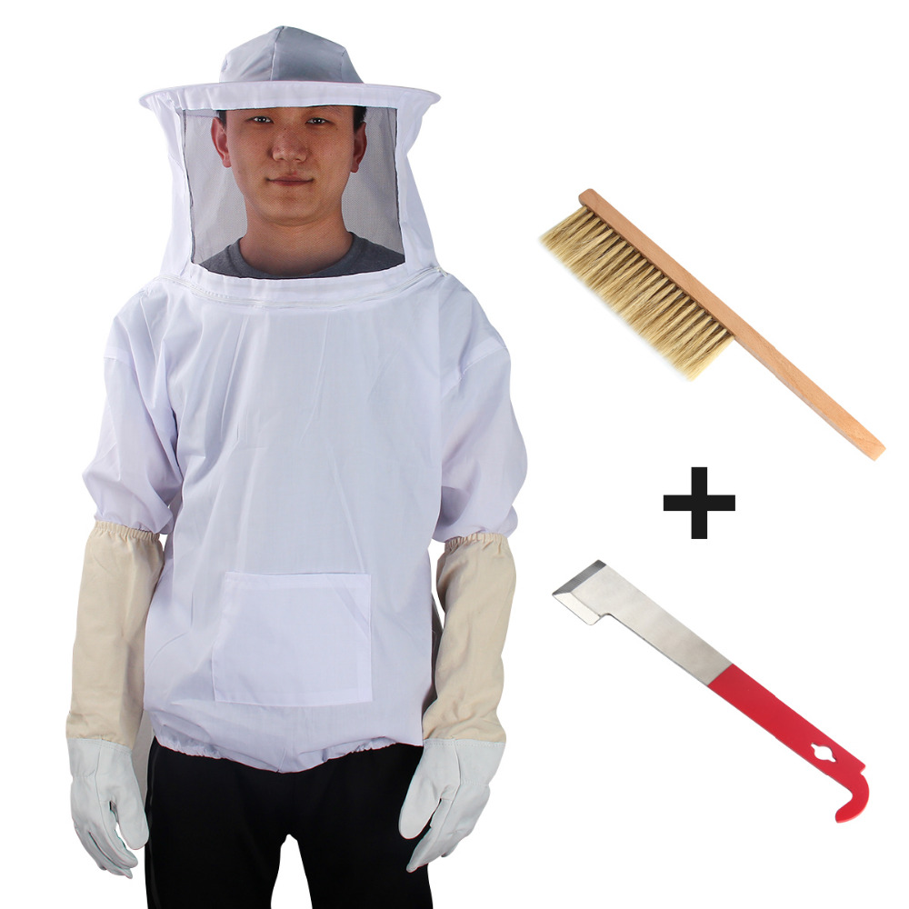 Cotton White Protective Beekeeping Suits Veil Dress With Hat Protective Equipment +Beekeeping Gloves + honey knife + Brush handled honey refractometer tester beekeeping tool honey bee refractometer