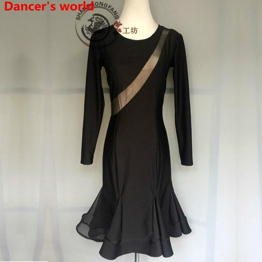 Long Sleeves Skirt Women Latin Tango Ballroom Salsa Dance Dress Party Costume Tassel women Dresses