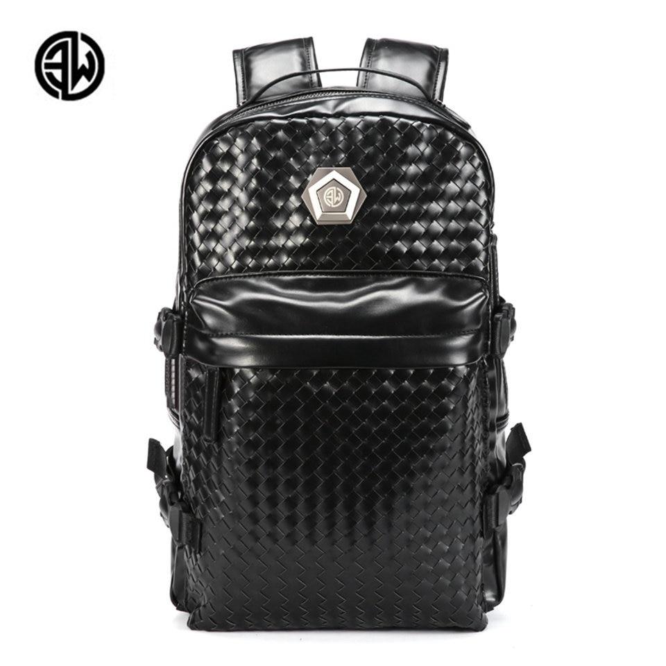 ETONWEAG Men Weave Quality Leather Backpack Male School Bag for Teenagers Men's Laptop Bag Mens Large Capacity Travel Backpacks