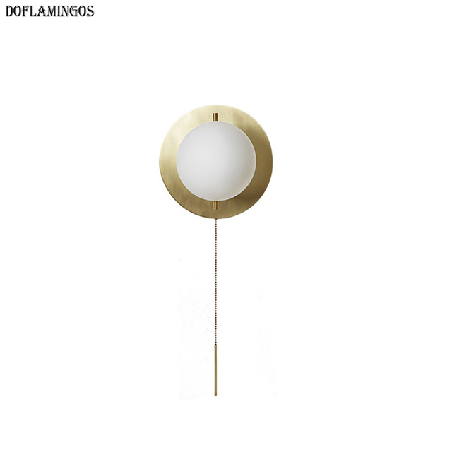 2019 NEW Fashion America LED Wall Lamp Copper Wall Sconces with E14 lamp Ball glass Lampshade Bathroom Mirror Light Home