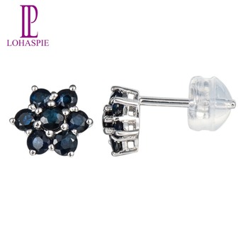 Lohaspie 0.7ct Natural Sapphire Stud Earrings For Women Solid 18k 750 White Gold Fine Jewelry