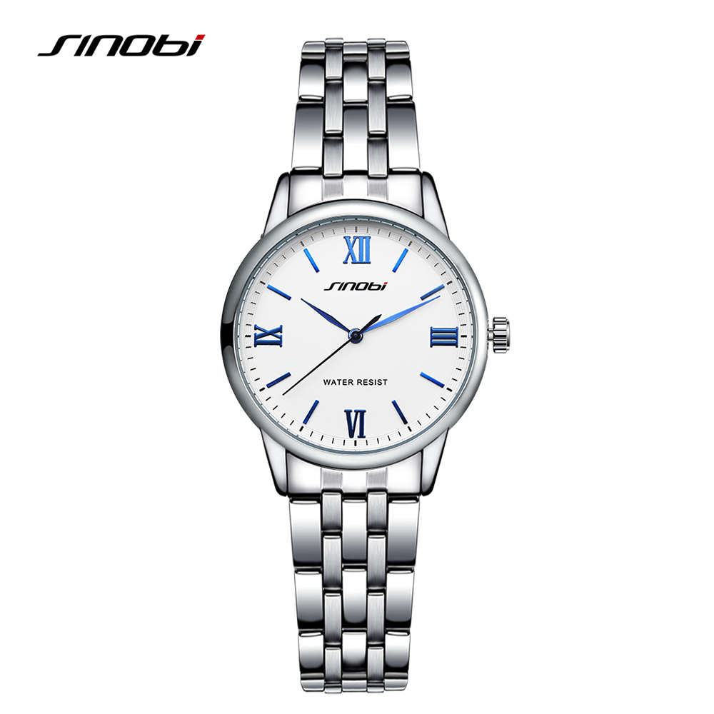 SINOBI Silver Classical Women Watches Luxury High Quality Water Resistant Watch Women Stainless Steel Dress Woman Wrist Watches