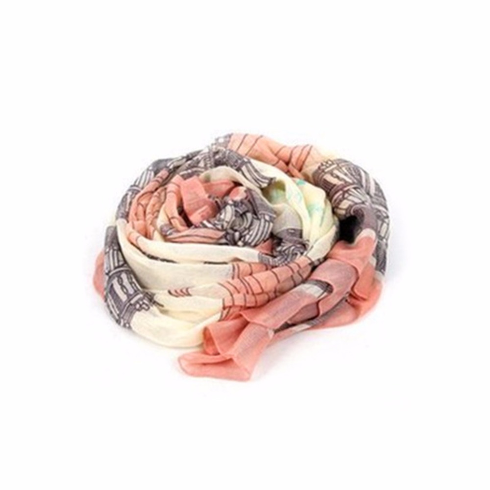 2018 Summer Elegant Women Long Paris Eiffel Tower Print Cotton Polyester   Scarf     Wrap   Ladies Shawl Large   Scarves   For Spring