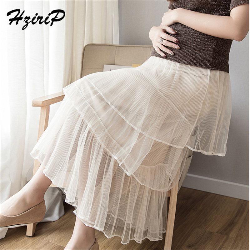 HziriP 2019 Hot Sale Pregnant High Waist Mid-Calf Mesh Maternity Fresh Summer New Style Solid Simple 3 Colors Plus Size Skirts