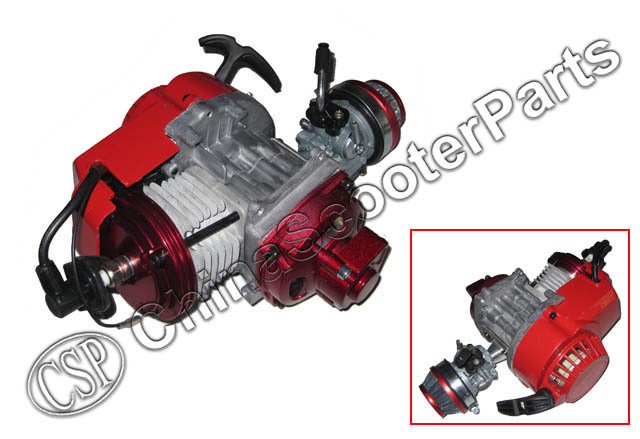 Racing 49CC Engine Alu Pull Start 15MM Carburetor CNC Cylinder head Mini Moto Pocket ATV Quad Buggy Dirt Pit Bike Red 49cc engine plastic pull e start 15mm carburetor mini moto for 49cc pocket atv quad buggy dirt pit bike chopper gas scooter