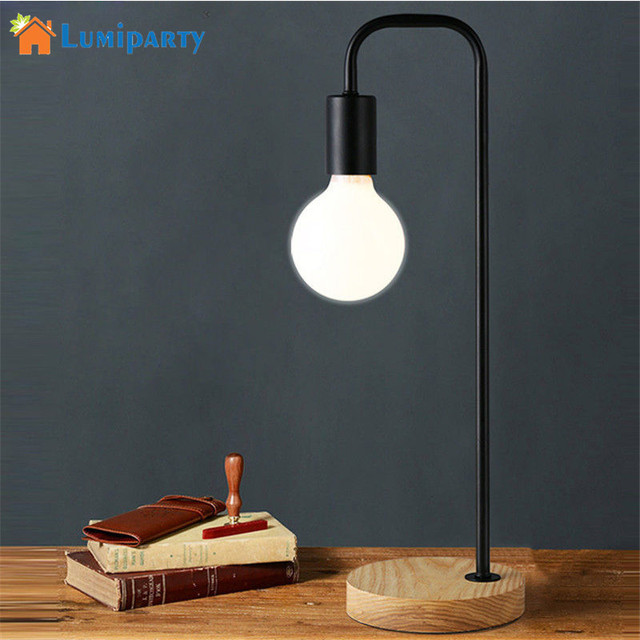 Lumiparty led table lamp iron design wood base stand simple decoration home desk night lamp bedroom
