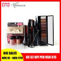 NICEFACE 13Pcs   Makeup     Set   10 Colors Warm Nude Colors Eyeshadow Black Mascara Eyeliner with Eye Shadow Brush Kit