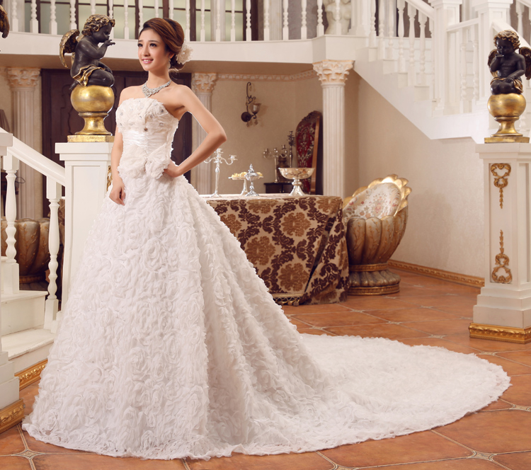 Us 65 99 Stock 2016 New Plus Size Ball Bridal Gown Women Tube Top Wedding Dress Slim Merimaid Fishtail Royal Train Flower A38 In Wedding Dresses