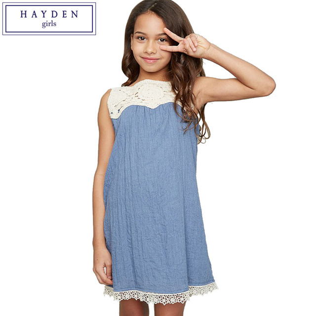 Hayden S Lace Crochet Dress Summer 2017 Kids Sleeveless Sundress Cotton Loose Fit Straight Vest