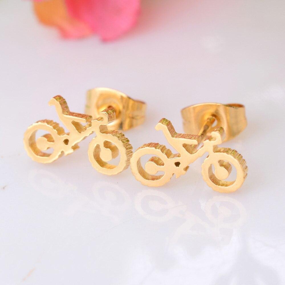 Мода в стиле панк позолота велосипедист заклепки Серьги Jewelry 316L Нержавеющаясталь шпильки для Для мужчин Для женщин подарок