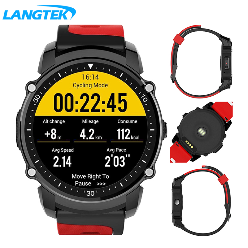 LANGTEK FS08 GPS Smart Watch IP68 Waterproof Bluetooth 4.0 Heart Rate Fitness Tracker Multi-mode Sports Monitoring Smartwatch fs08 gps smart watch mtk2503 ip68 waterproof bluetooth 4 0 heart rate fitness tracker multi mode sports monitoring smartwatch