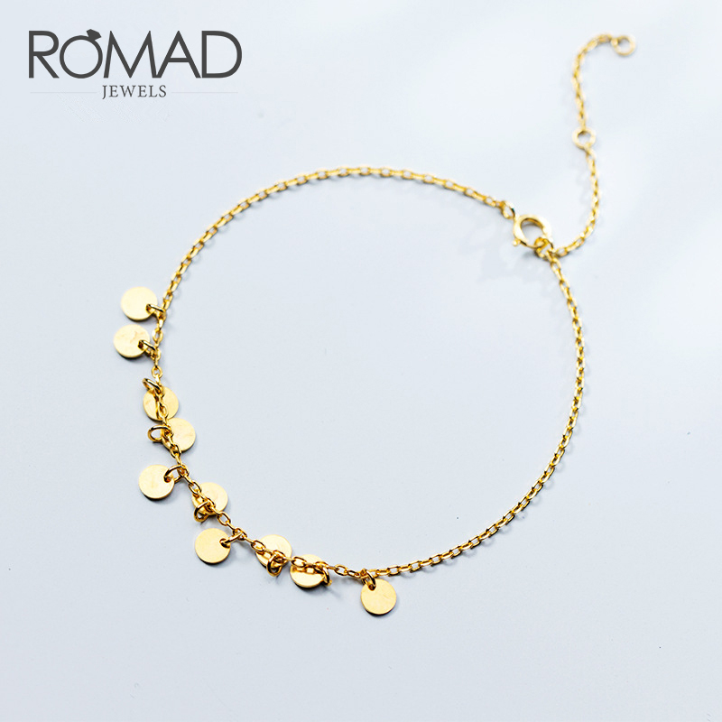 ROMAD Gold Color Silver 925 Bracelet Woman Bohemia Sequin Tassel Charm Bracelets For Women Girls Gifts Simple Jewelry R4 in Chain Link Bracelets from Jewelry Accessories