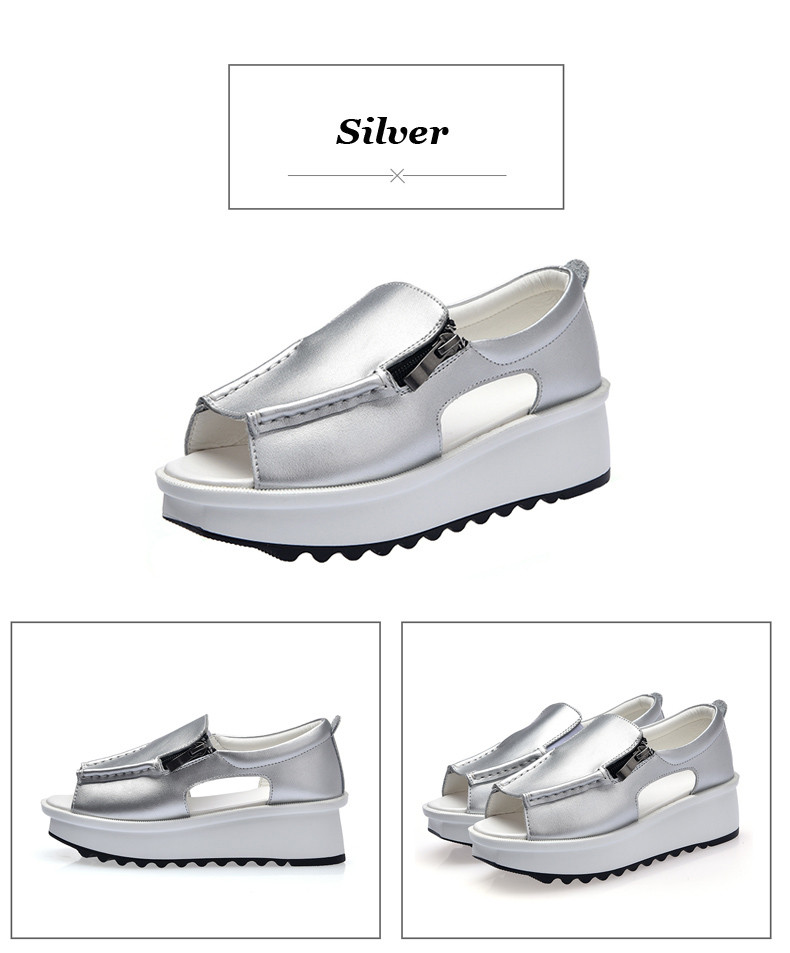 2019 Fashion Summer Women Sandals Wedges Sandals Ladies Open Toe Round Toe Zipper Silver White Platform Sandals Shoes (4)