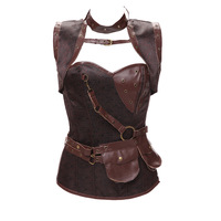 Steel Boned Steampunk Corset Jacket Bag Belt Zipper Plus Size Gothic Vintage Brocade Corset Grey/Brown S 6XL