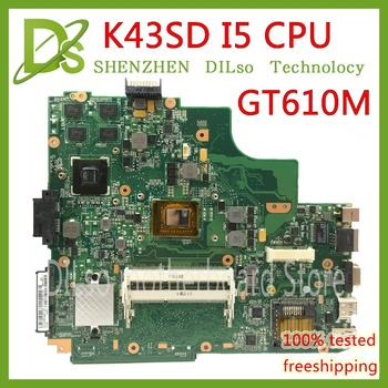 KEFU K43SD Laptop Motherboard For ASUS K43SD K43E P43E A43E mianboard original REV5.0 GT610M HM65 I5-2410M Test Motherboard image