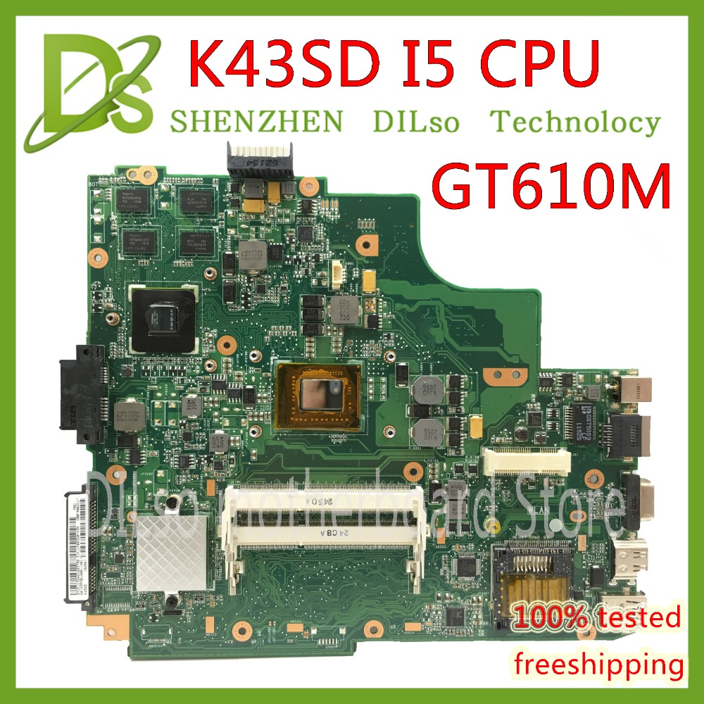 KEFU K43SD laptop motherboard for ASUS K43SD K43E P43E A43E mianboard original REV5.0 GT610M HM65 <font><b>I5</b></font>-<font><b>2410M</b></font> Test motherboard image