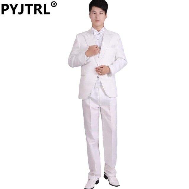 (Куртка + Брюки) белый И Черный мужская Мода Смокинг Мужские Шоу На Сцене Производительности Жених Костюм И Брюки Бальные Платья Костюмы Мужские