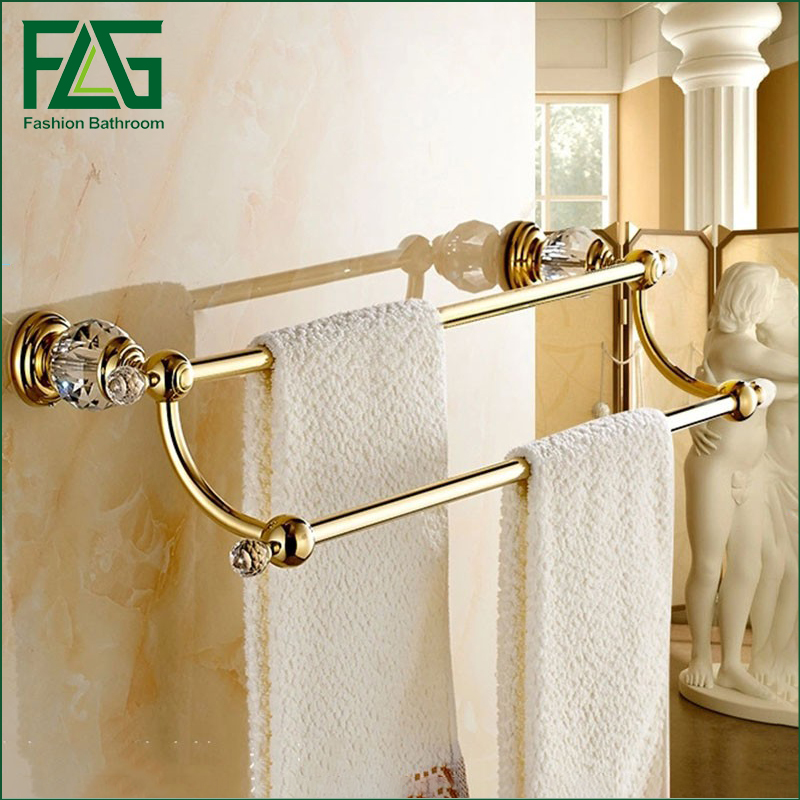 Free Shipping Brass & Crystal Made,PVD-Ti Gold, Towel Bar,Towel Holder, Towel Rack ,Solid free shipping ti pvd double towel bar flowers