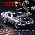 Envío libre 1: 38 aleación tire hacia atrás de coches, modelo de simulación de alta shelby GT500, metal funde, vehículos de juguete de los niños