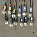 Vintage E27 socket pendant light screw bulb base holder with adjustable wire and canopy knob switch pull chain pendant lamp