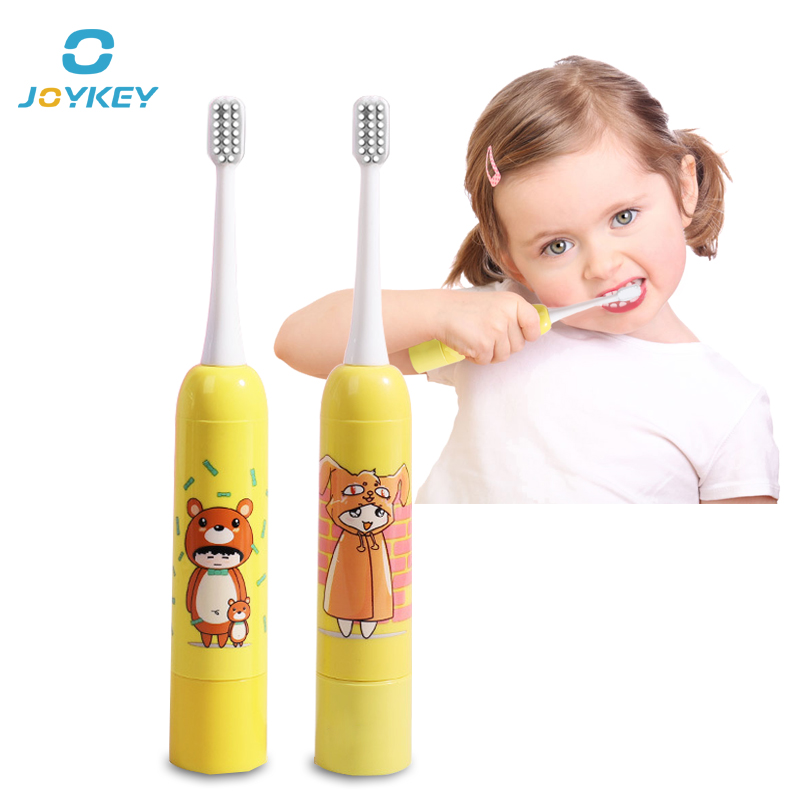 Sonic Electric Toothbrush For Kids Gum Massage Brush Oral Care Dry Battery Tooth Brush Heads yellow for boys/girls image