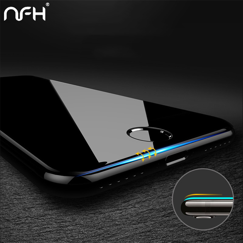 Galleria fotografica NFH 4D Edge Tempered Glass For iPhone 7 8 Plus Full Cover 4D Round Protective Screen Protector For iPhone 6 7 Plus Glass On 6s