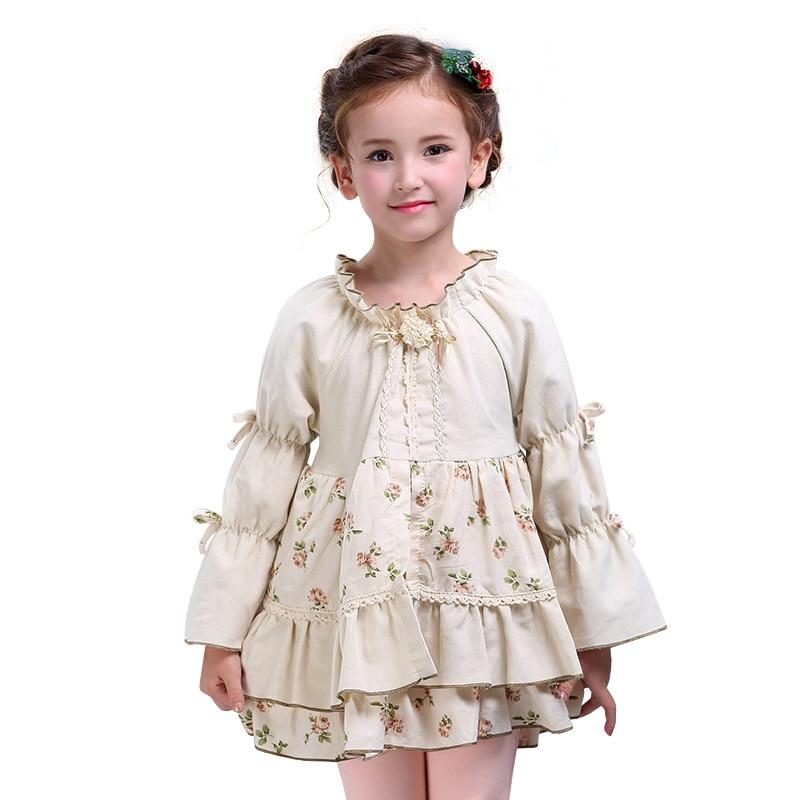 Kids Autumn Dress Long Sleeved Girls Vintage Teens Wears School Uniform Clothing