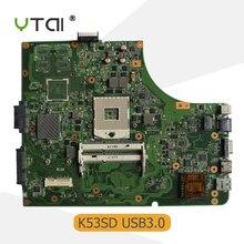 YTAI K53SD K53E REV:2.3 motherboar For Asus A53S K53S K53E A53E K53SD Laptop Motherboard HM65 REV:2.3 USB3.0 Mainboard 100% test