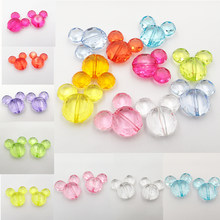 ( Choose Color First ) 34mm*37mm 55pcs/lot Transparent Acrylic Mouse Beads For Chunky Jewelry Making(China)